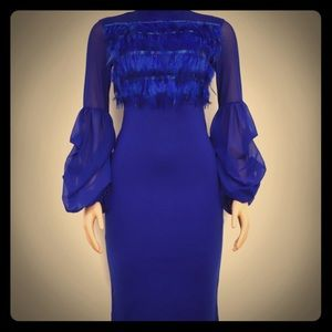 Dresses & Skirts - Gorgeous Blue Feathered Dress